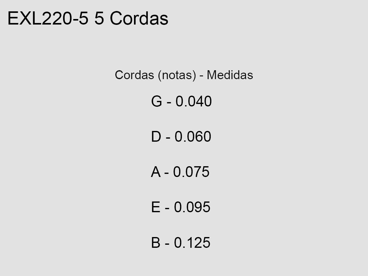 Corda / Encordoamento Baixo D'Addarío 040 05 Cordas Escala Longa EXL220-5