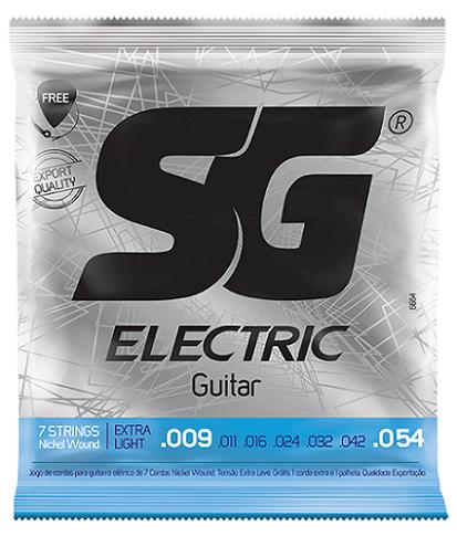 Corda Guitarra 009 SG Níquel 7 Cordas + Corda Extra + Palheta de Brinde