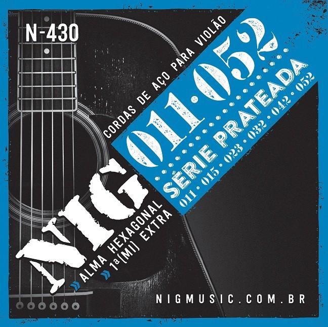 Cordas / Ecordoamento Nig Violão Aço N430 Prata .011 C/ Bolinha