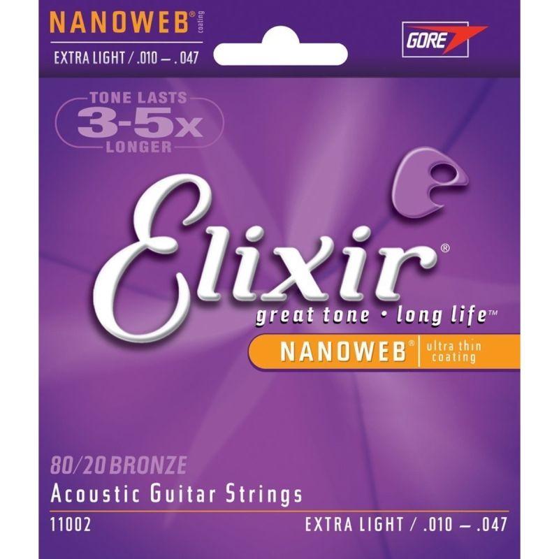 Encordoamento Aço Violão Elixir Nanoweb 010-047 – Extra Light 80/20 Bronze