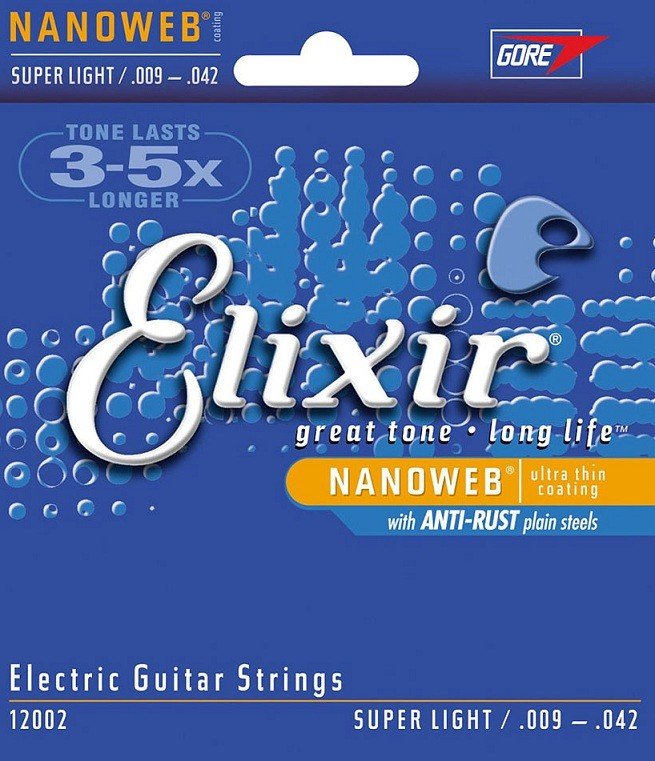Encordoamento p/ Guitarra Elixir Nanoweb .009 - .042 Super Light 009 / 042