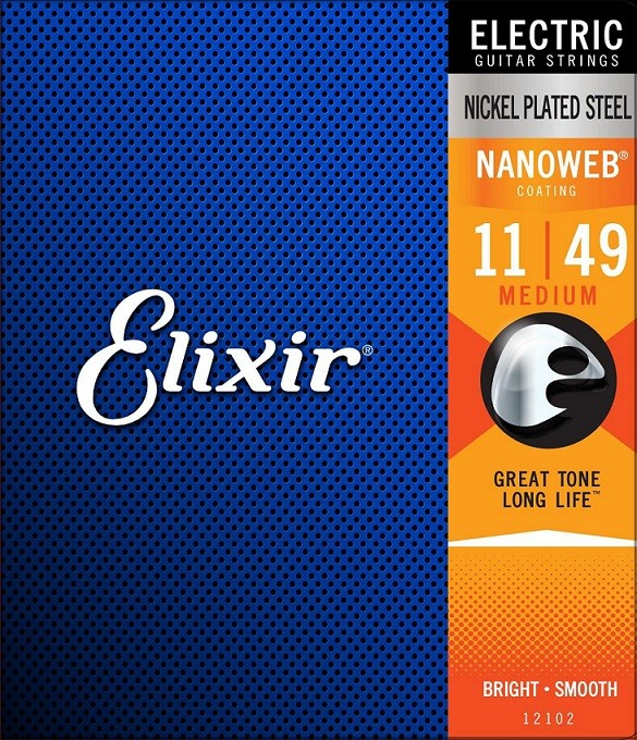 Encordoamento Elixir Guitar Nickel Plated Steel Nanoweb 11/49 Medium