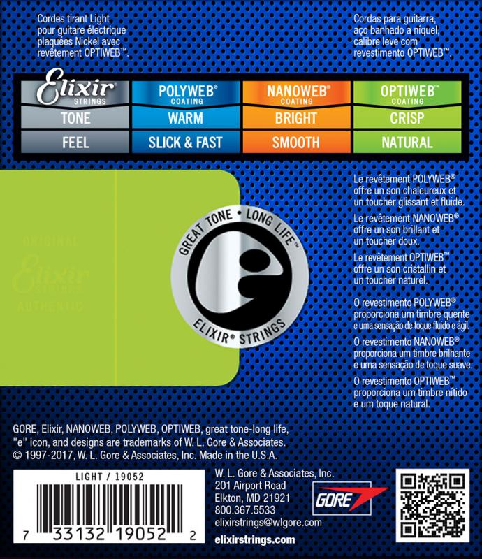 Corda / Encordoamento Elixir Guitar Optiweb 010 / 046 Light