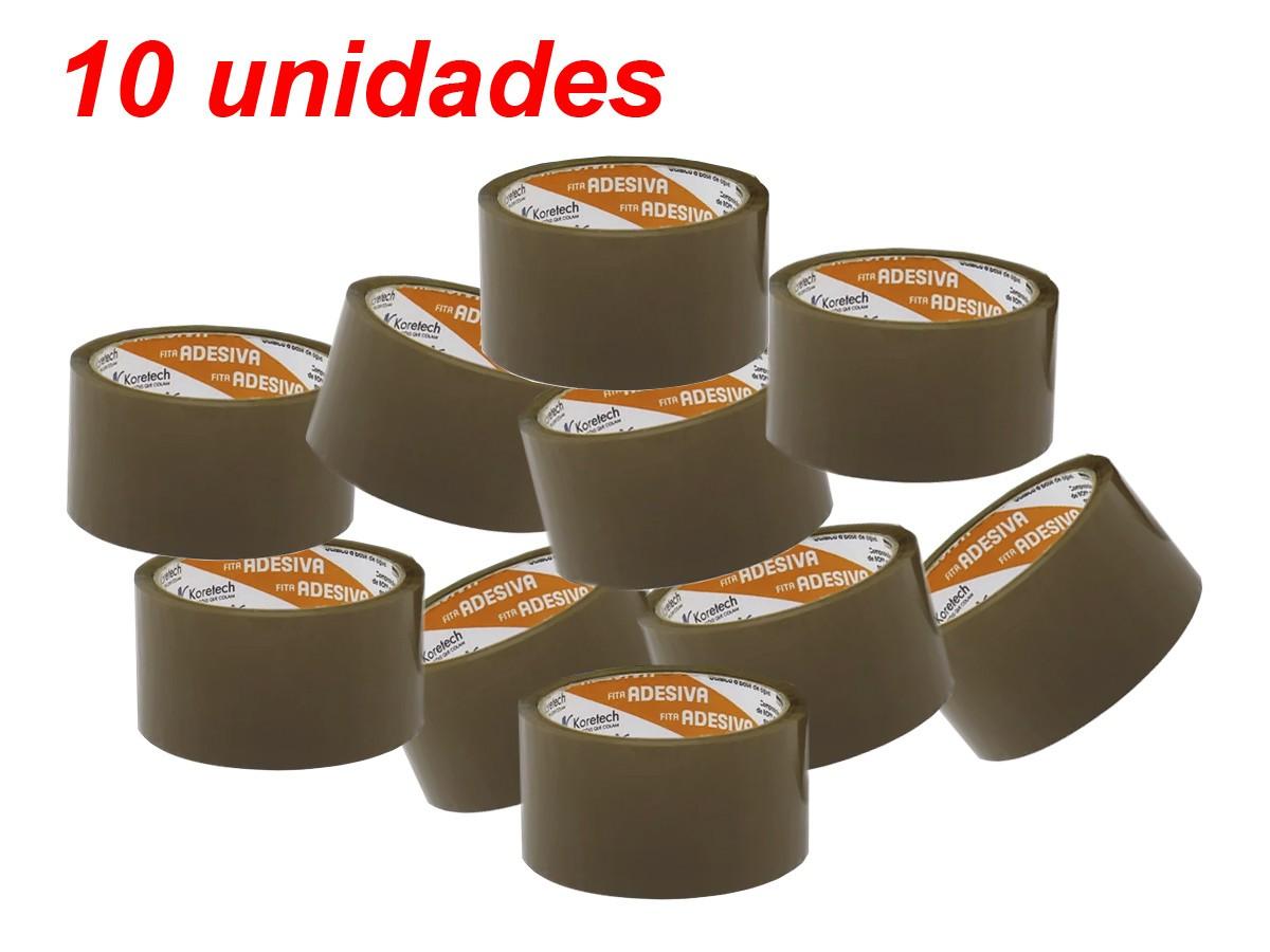 Fita Adesiva Para Embalagem Marrom 48mm X 45m - 10 Unid