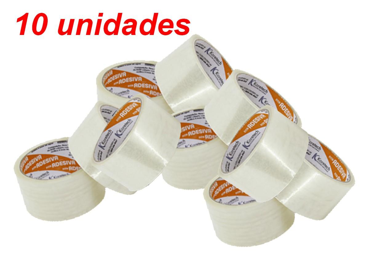 Fita Adesiva Para Embalagem Transparente 48mm X 45m - 10 Unid