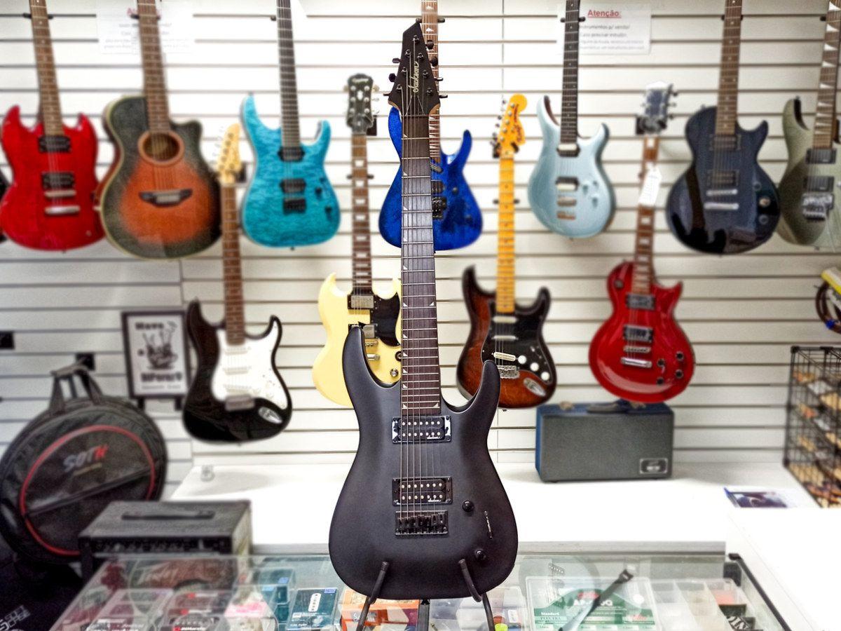 Guitarra Jackson JS22-7 SATIN BLACK – Preto Fosco – Usada