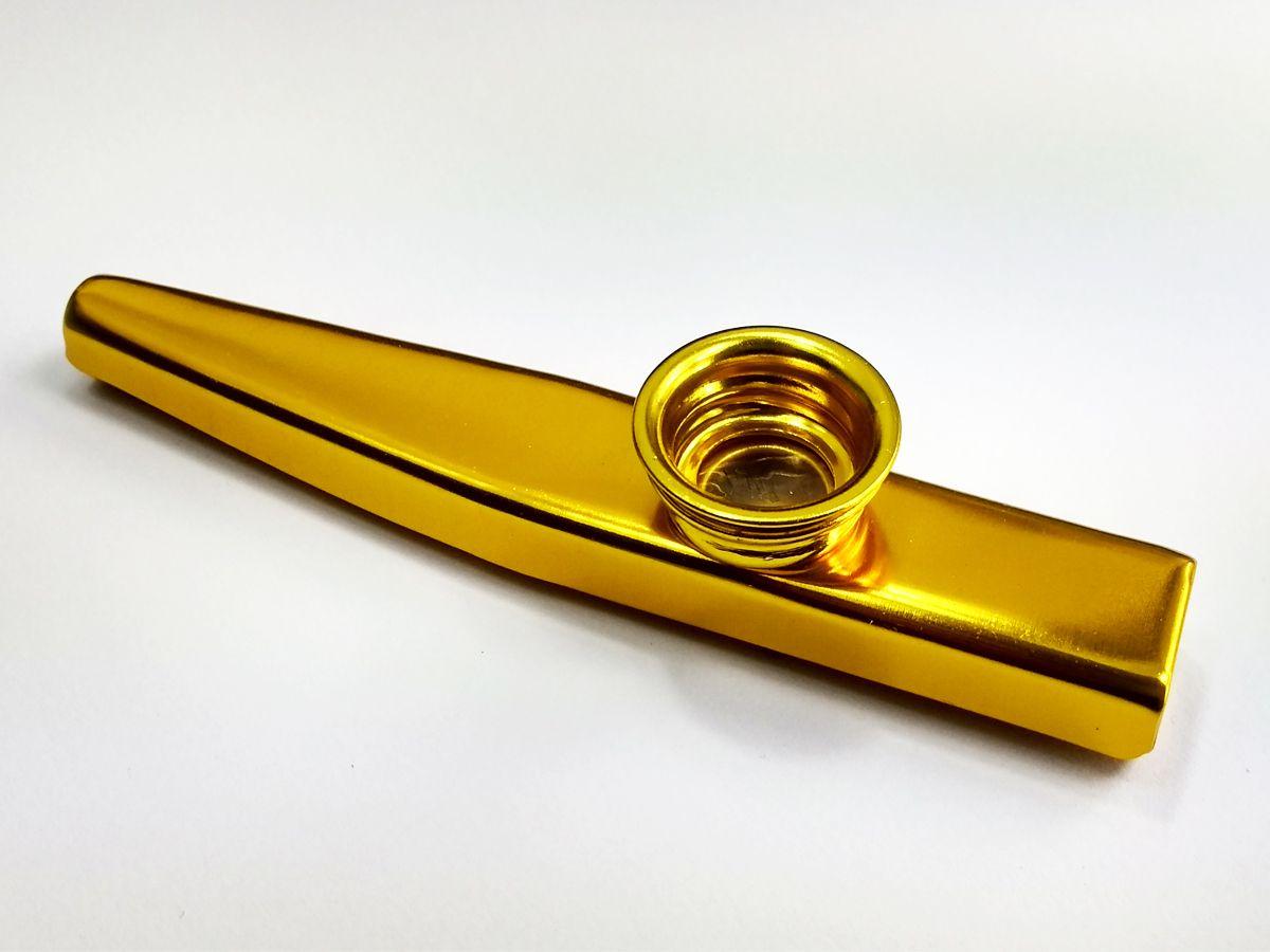 Instrumento De Sopro Kazoo Metalico Cor Ouro
