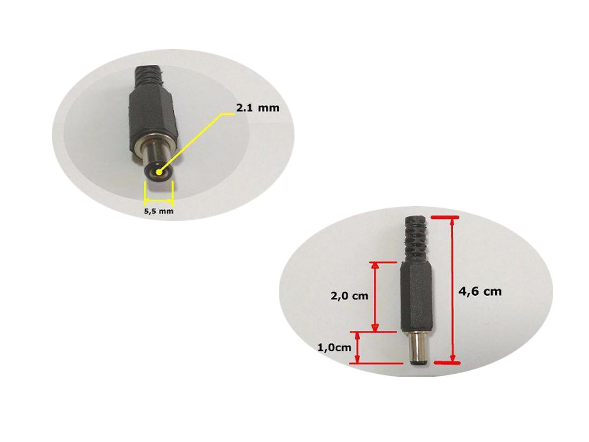 Plug P4 Reto Kit 10 Unid Padrão Boss Pedais 2,1 X 5,5 X 10mm