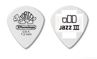 Palheta Tortex Jazz III 1.5mm kit c/ 6 Branca Dunlop