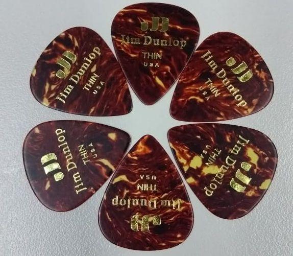 Palheta Jim Dunlop Tortoise Shell Classics Thin kit com 6