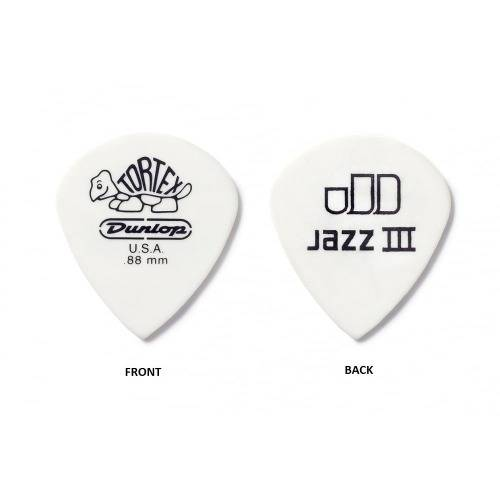 Palhetas Tortex Jazz Iii 0.88 Mm Branca- Kit com 6- Dunlop