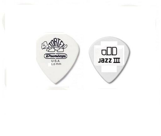 Palheta Tortex Jazz Iii 1 Mm- Branca- Kit com 6- Dunlop