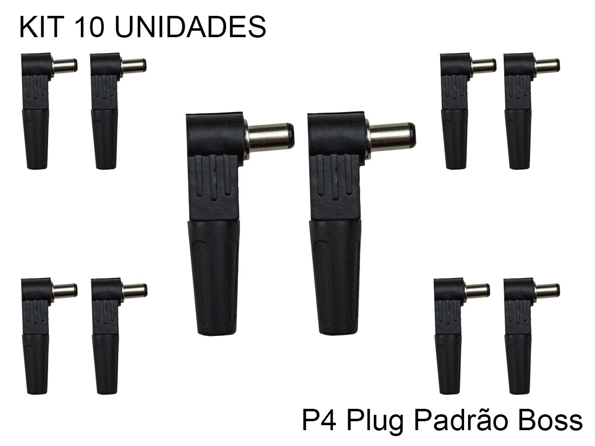 Plug P4 Angulado - Padrão Boss Kit C/10 Unid 2,1 x 5,5 x 10mm