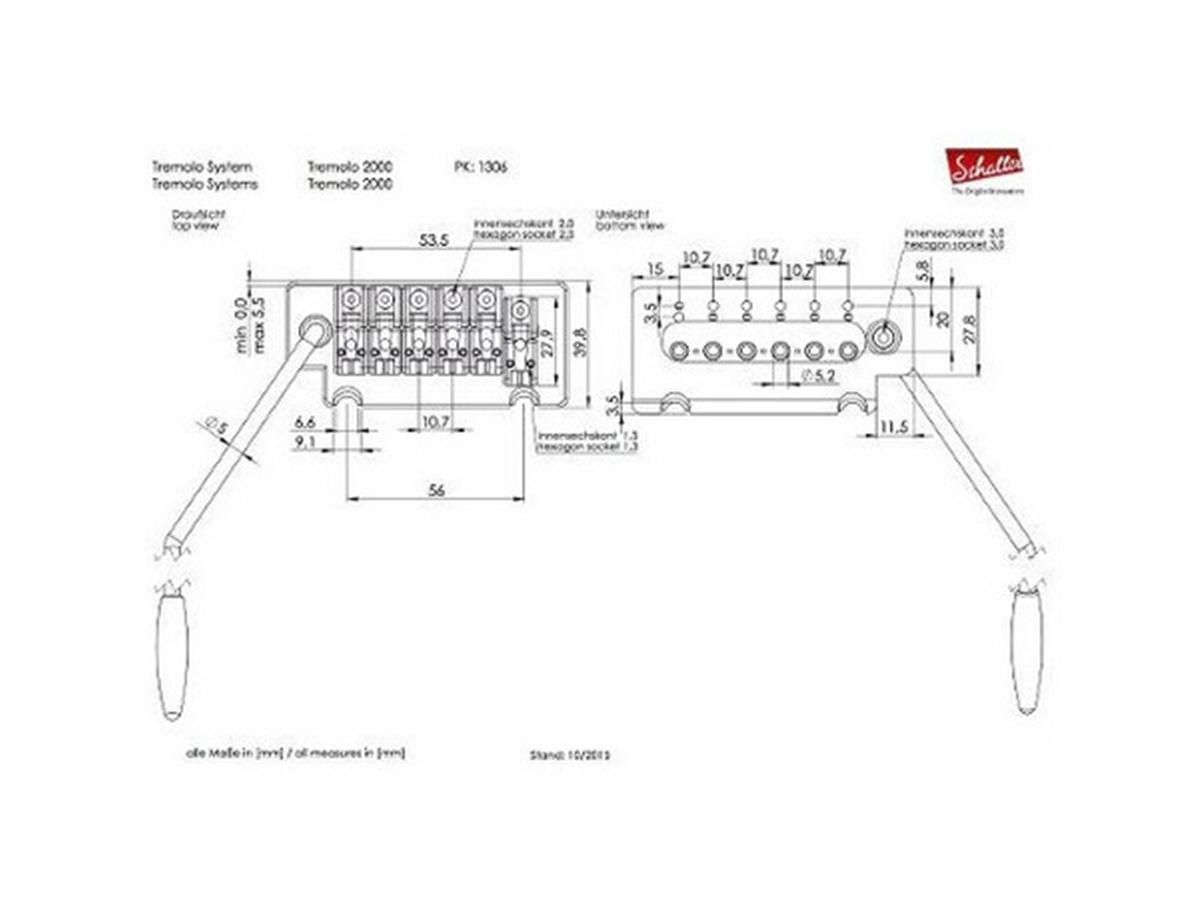 Ponte Tremolo Schaller 2000 block 37 Sc535724 black - Preto