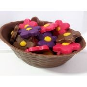Mini cesta de chocolate belga - flores