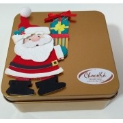 Natal - Lata com Chocolate Belga Ao leite - barrinhas 16 unids