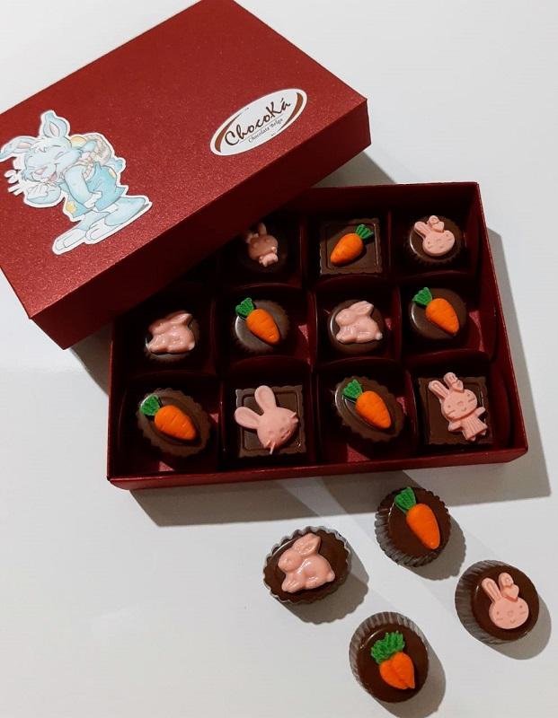 Caixa de Bombom decorado Páscoa - Chocolate Belga