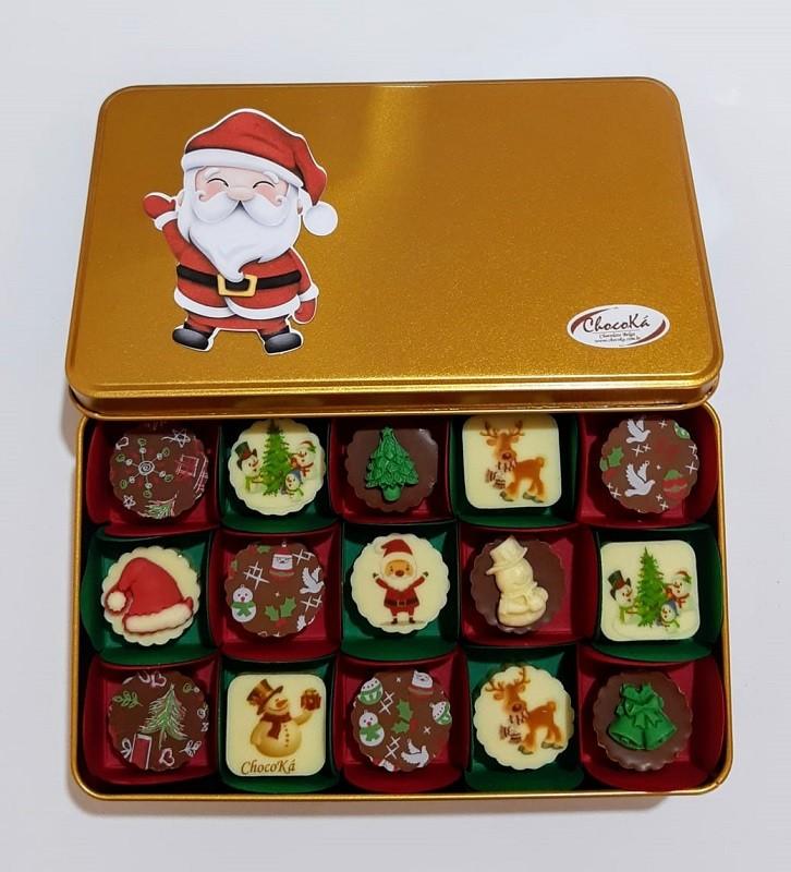 Lata Natal com Bombom de Chocolate Belga