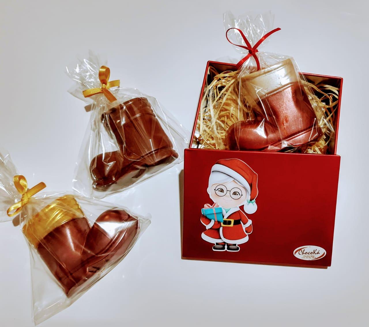 Lata Natal Com Chocolate Belga Formato Bota