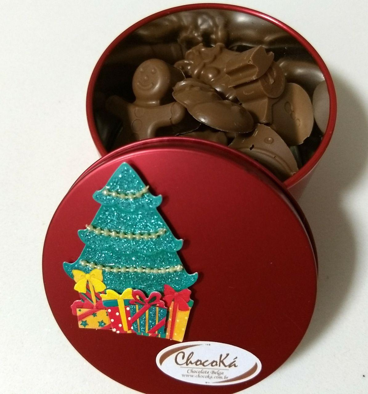 Lata redonda com Chocolate Belga - Natal