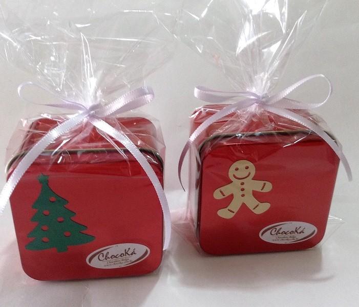 Latinha quadrada decorada natal - chocolate belga