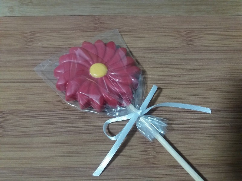Pirulito de chocolate belga - Flores - 5 unidades