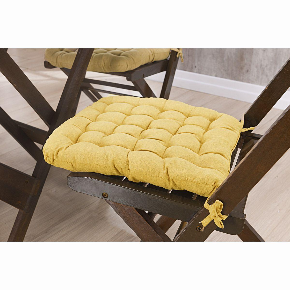 Assento P/ Cadeira - Futton - Kalamar - 40cm x 40cm - Amarelo - Niazitex