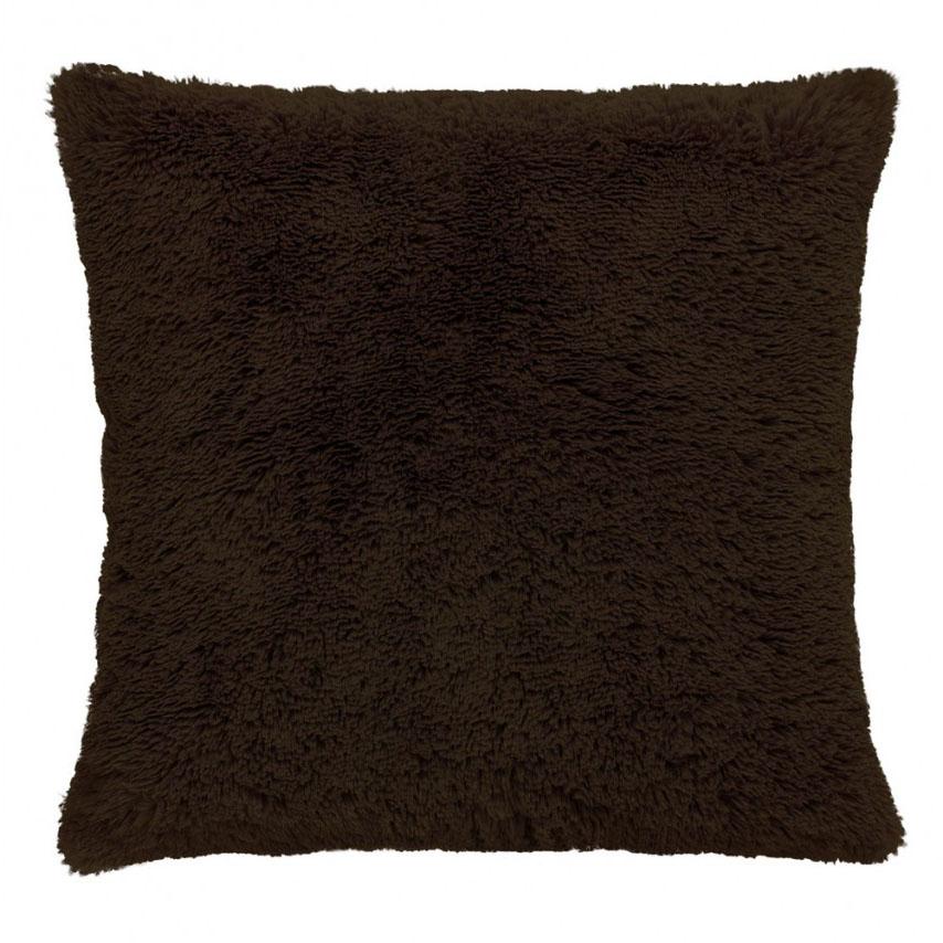 Capa de Almofada - Baby Soft - Pelúcia - 45cm x 45cm - Marrom  - Adomes