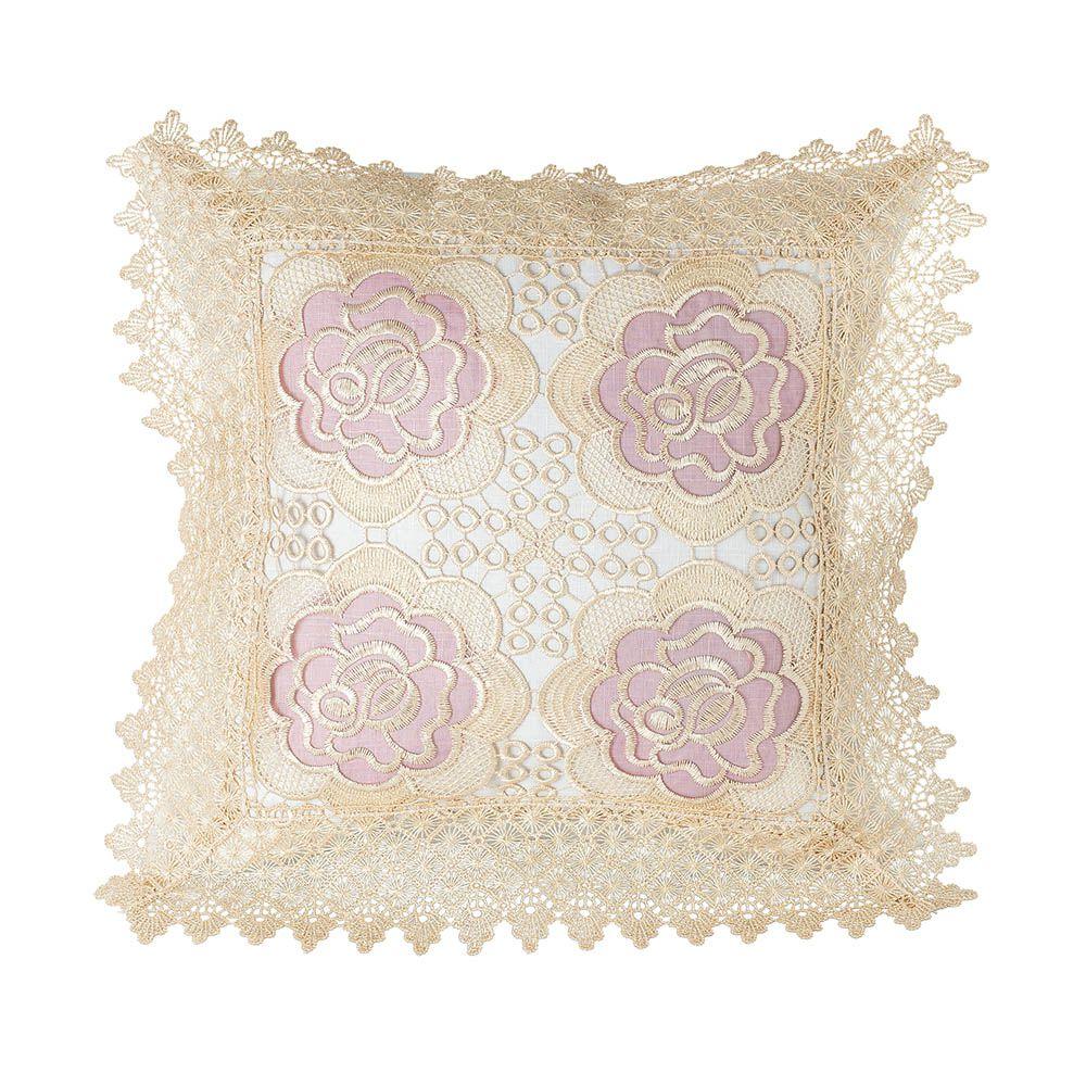 Capa de Almofada - Rendada - Floral 3 - 44cm x 44cm - Jolitex