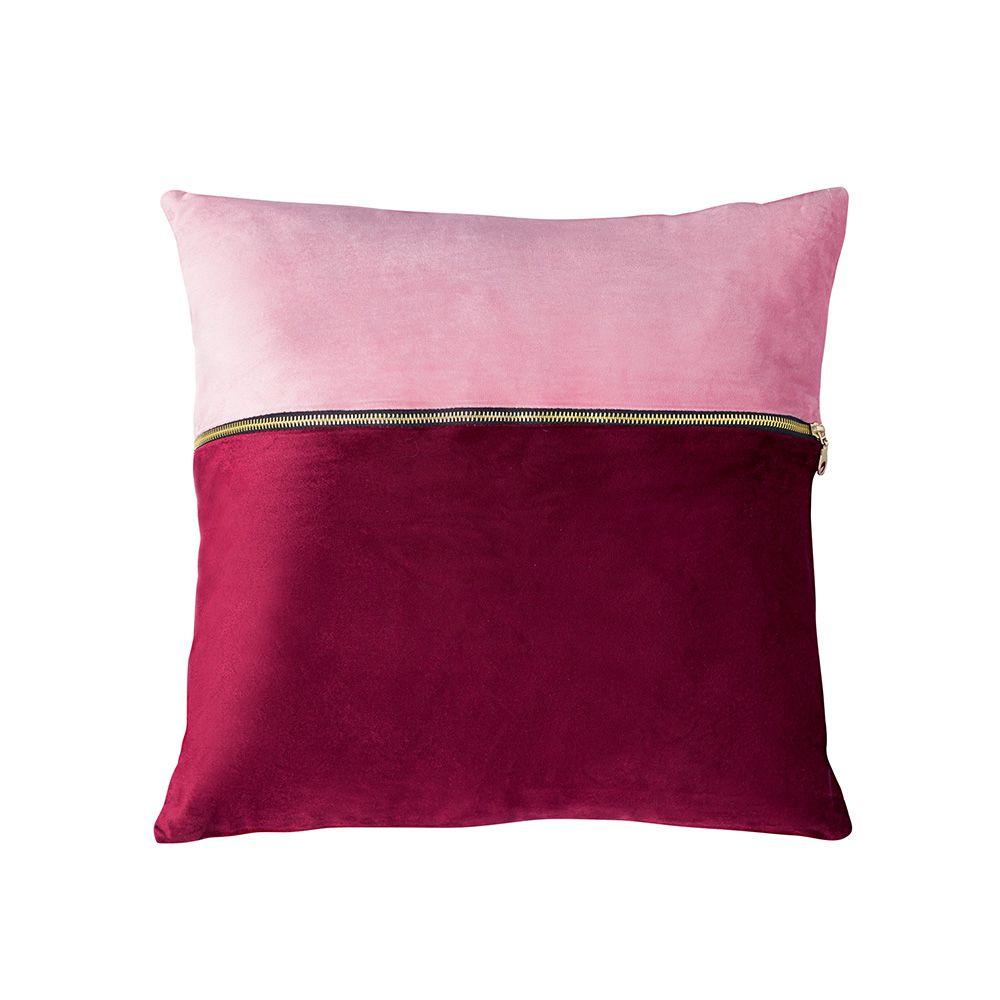 Capa de Almofada - Requinte - Vermelho / Rosa - 45cm x 45cm - Jolitex