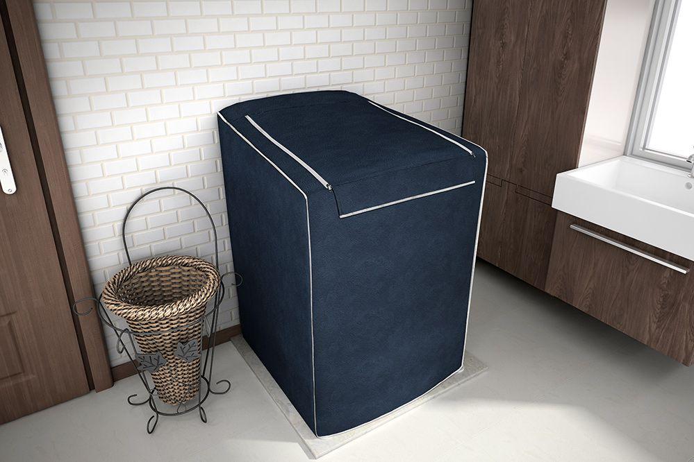 Capa P/ Máquina de Lavar Roupas - C/ Zíper - 7Kg a 9Kg - Azul Cobalto - Adomes