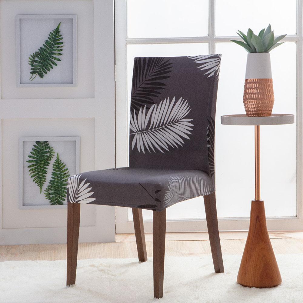 Capa Para Cadeira - Malha - Folha Cinza Chumbo - Jolitex