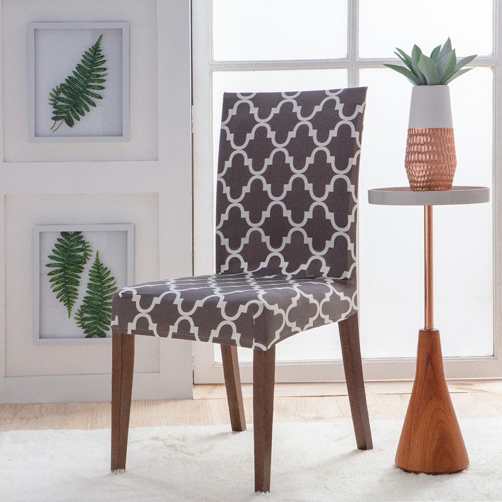 Capa Para Cadeira - Malha - Geometrica Cinza - Jolitex