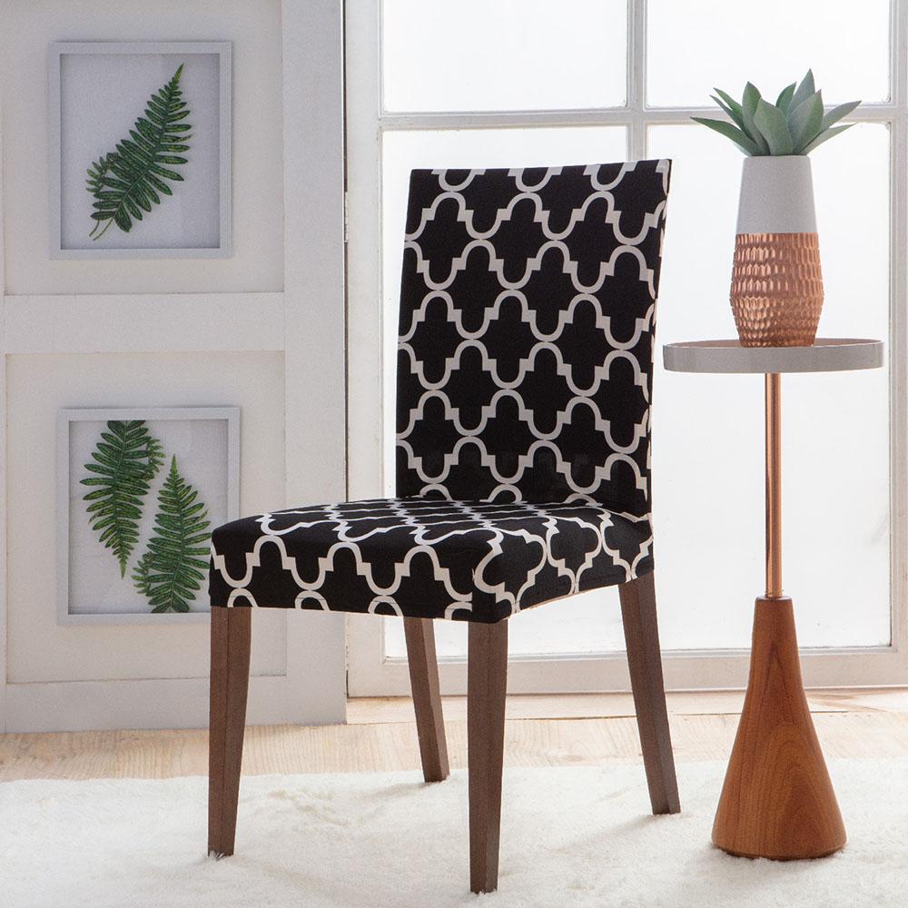 Capa Para Cadeira - Malha - Geometrica Preto - Jolitex