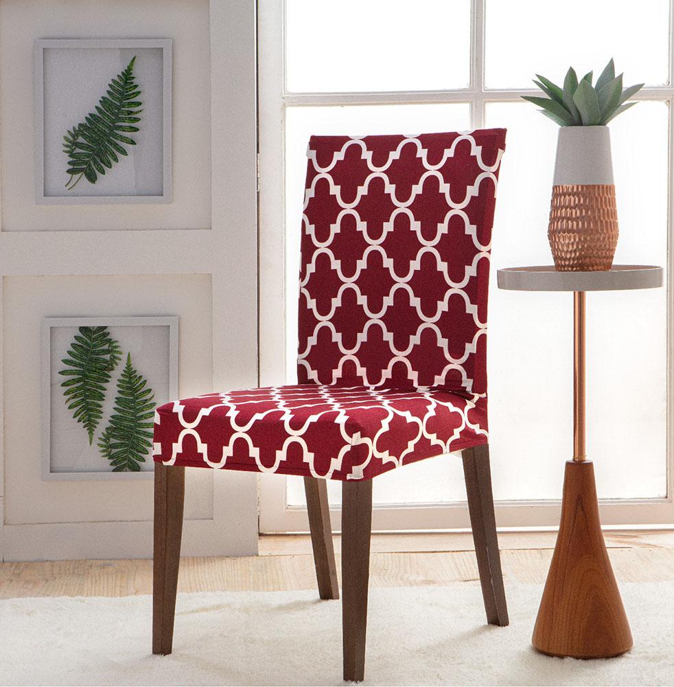 Capa Para Cadeira - Malha - Geometrica Vermelha - Jolitex