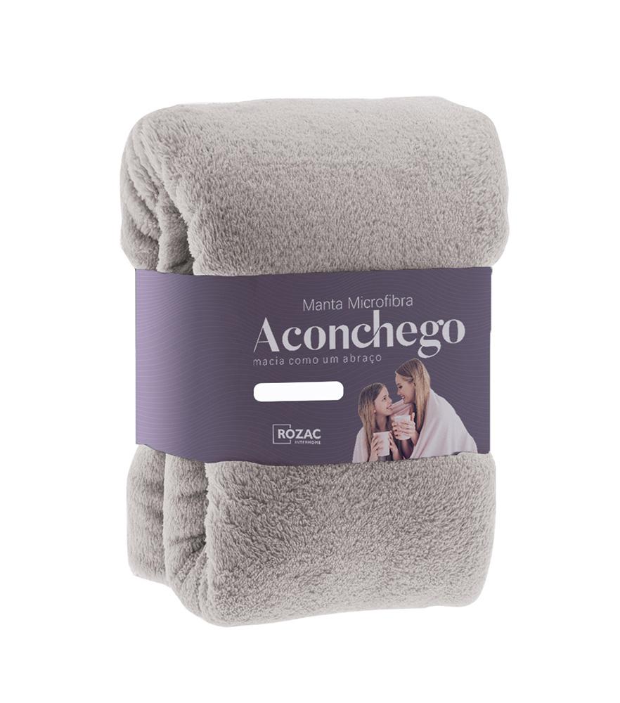 Cobertor Manta Microfibra - Casal - Liso - Avelã - 1,80m x 2,20m - Rozac
