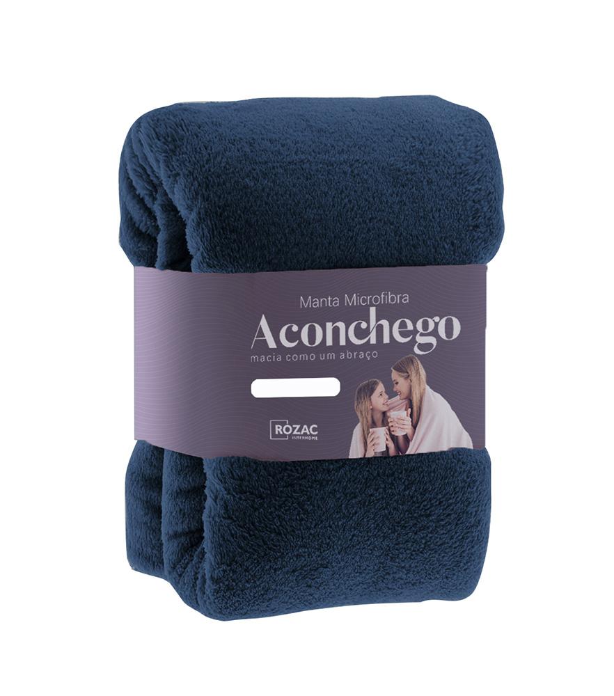 Cobertor Manta Microfibra - Casal - Liso - Marinho - 1,80m x 2,20m - Rozac