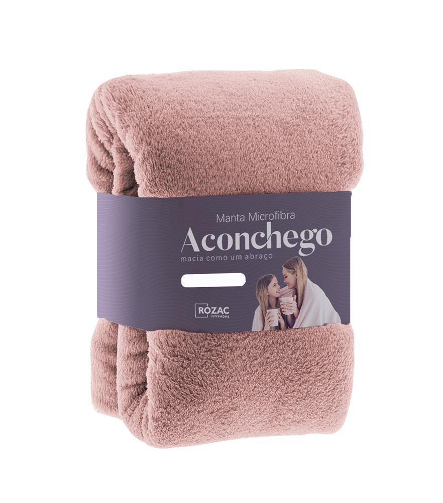 Cobertor Manta Microfibra - Casal - Liso - Rosé - 1,80m x 2,20m - Rozac