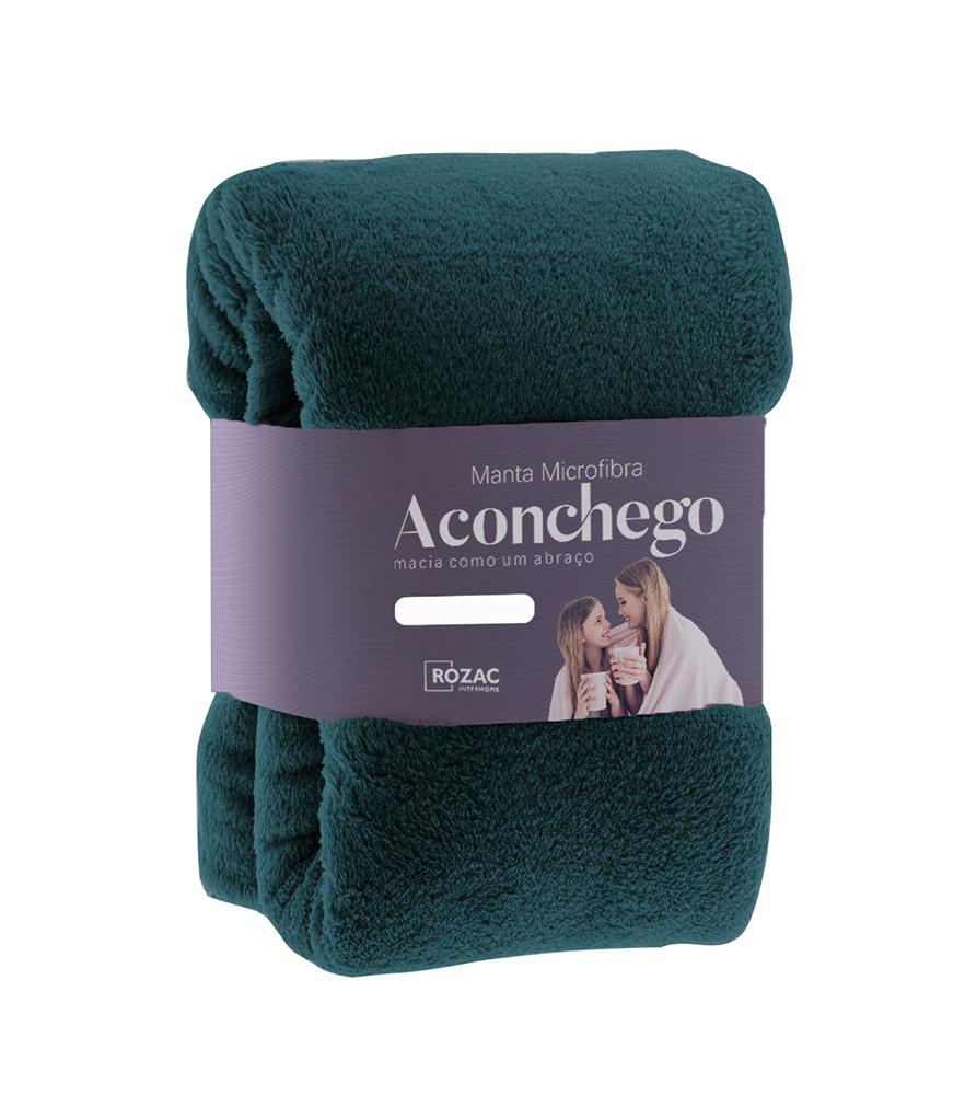 Cobertor Manta Microfibra - Solteiro - Liso - Verde - 1,50m x 2,20m - Rozac