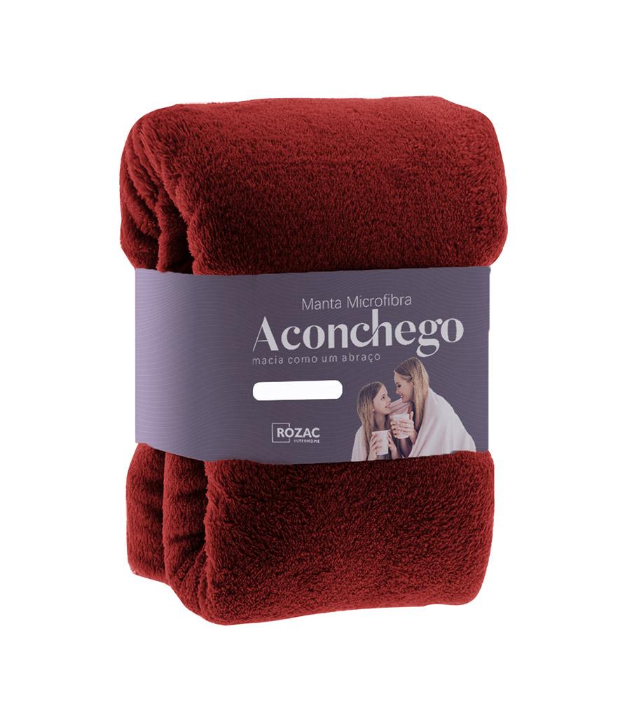 Cobertor Manta Microfibra - Solteiro - Liso - Vinho - 1,50m x 2,20m - Rozac