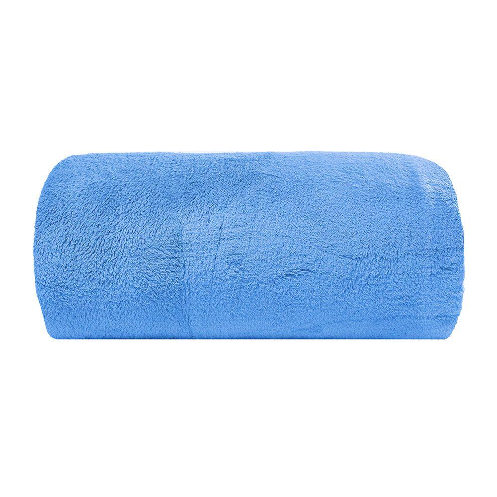 Cobertor Microfibra - Casal - Liso - Azul - 1,80m x 2,20m - Camesa