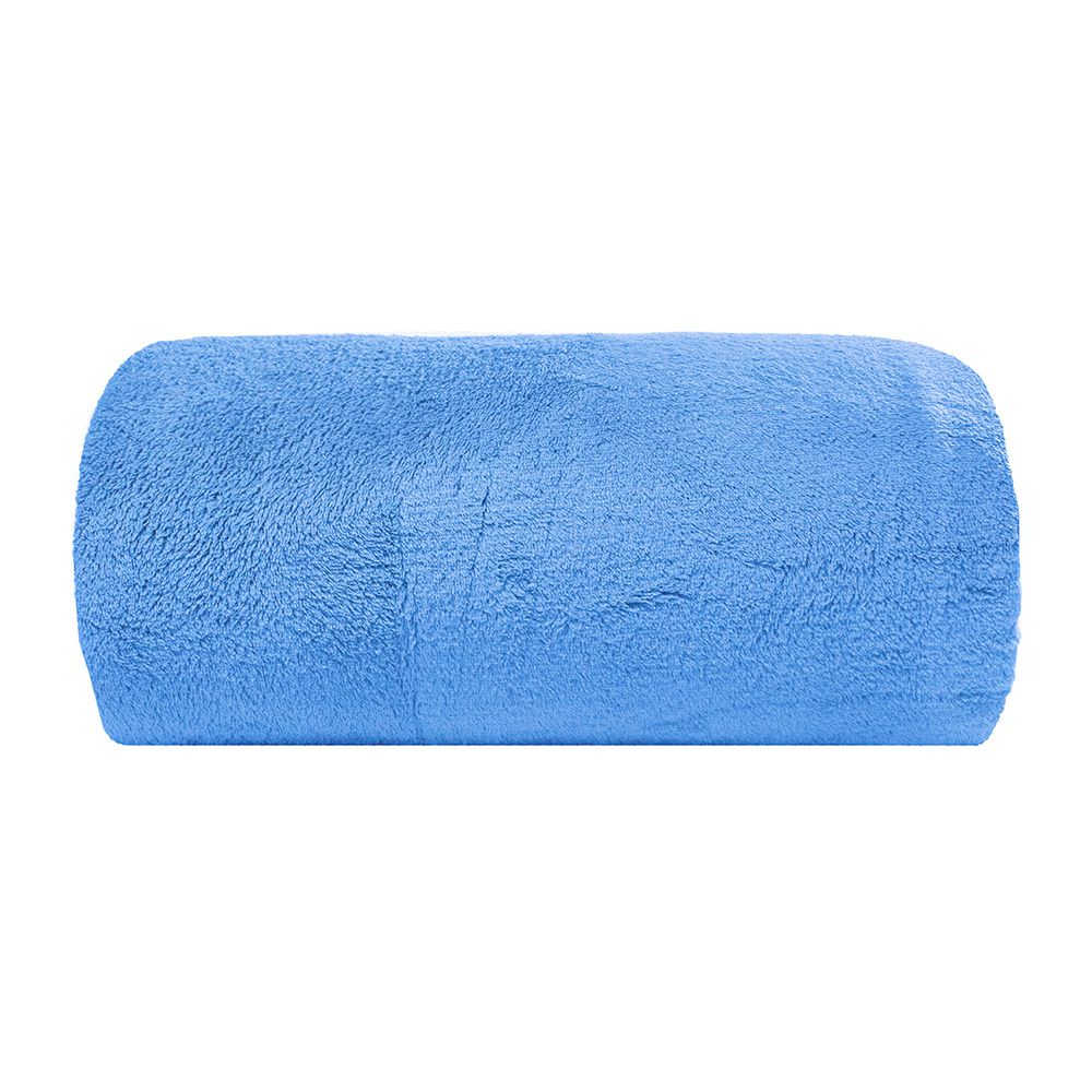 Cobertor Microfibra - Solteiro - Liso - Azul - 1,50m x 2,00m - Camesa