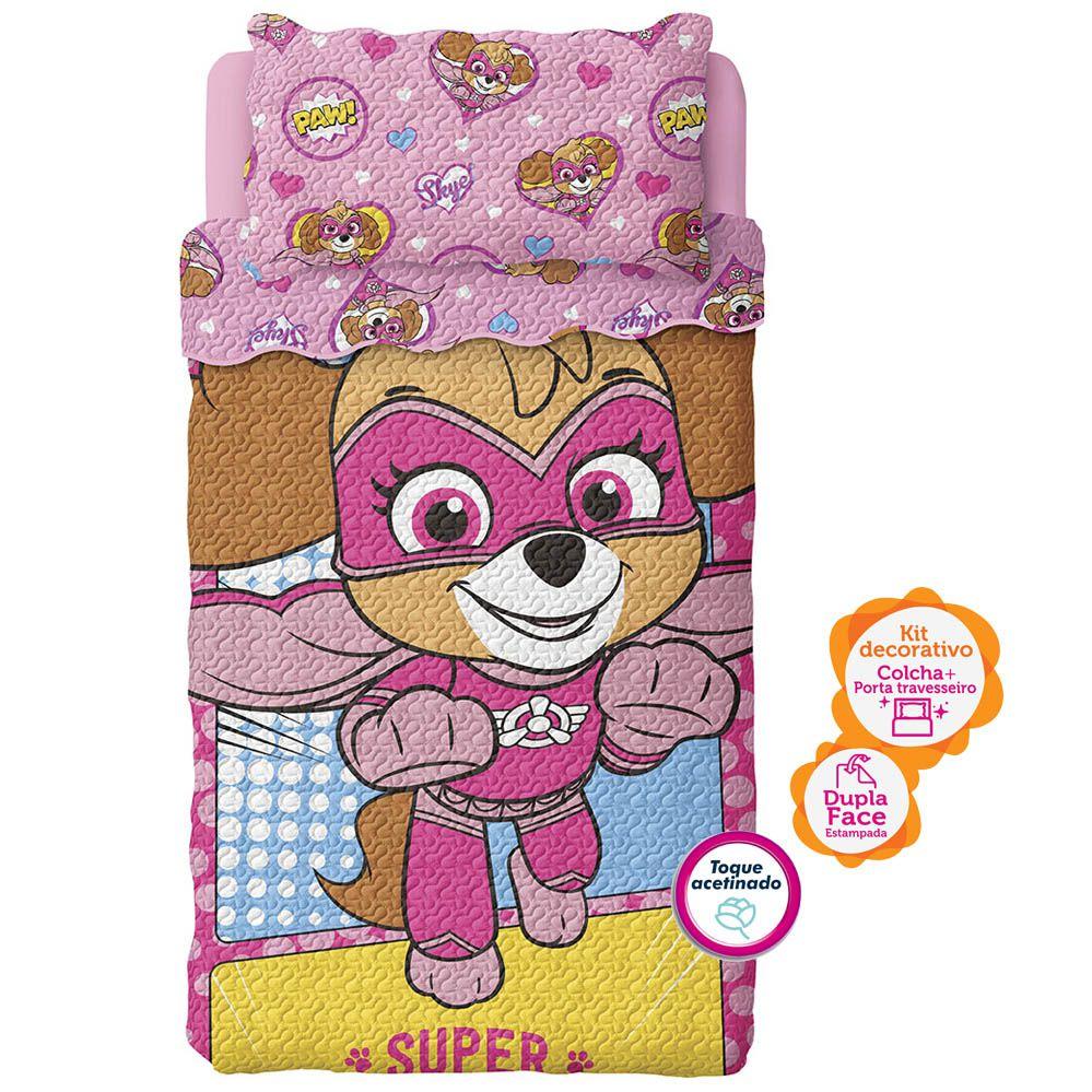Colcha Infantil Bouti - Dupla Face - Patrulha Canina Rosa - C/ Porta Travesseiro - Lepper