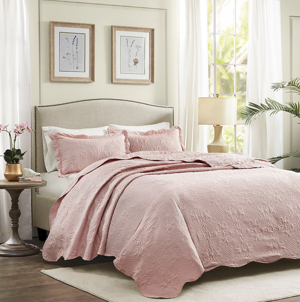 Colcha Matelassê - 150 Fios - Queen Size  - C/ Porta Travesseiros - Milão - Rosa - Corttex
