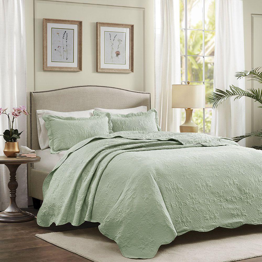 Colcha Matelassê - 150 Fios - Queen Size  - C/ Porta Travesseiros - Milão - Verde - Corttex