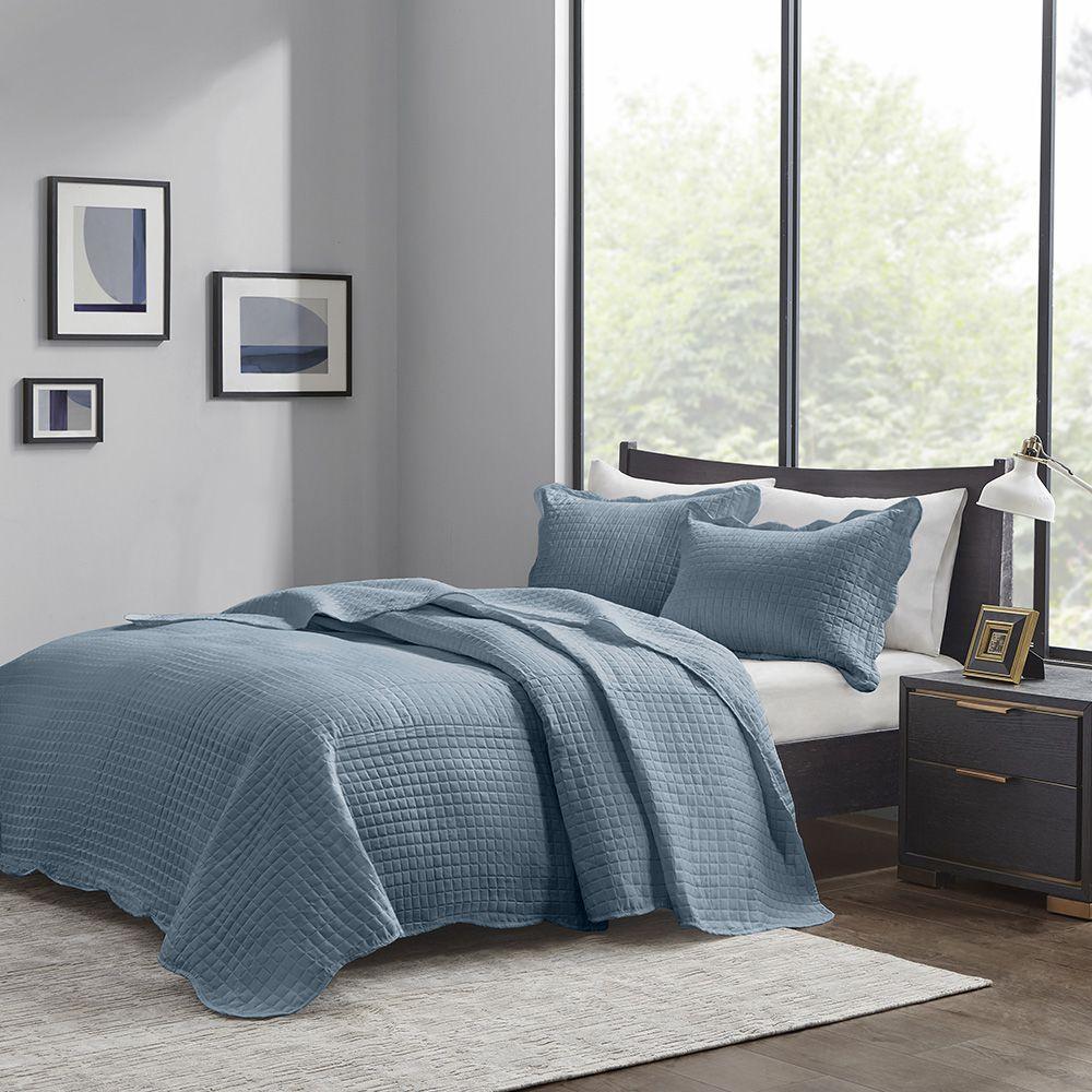 Colcha Matelassê - 150 Fios - Queen Size  - C/ Porta Travesseiros - Veneza - Azul - Corttex