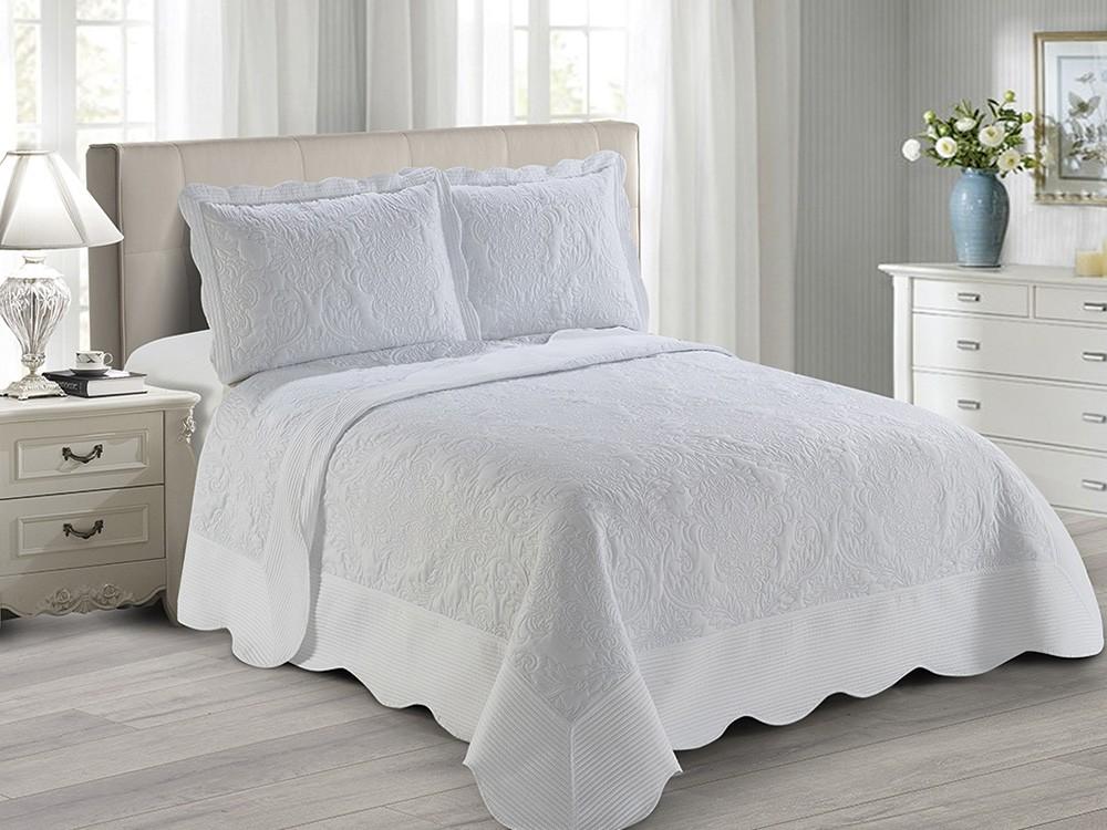 Colcha Matelassê - Antique - Queen Size - C/ Porta Travesseiro - Branco - Camesa