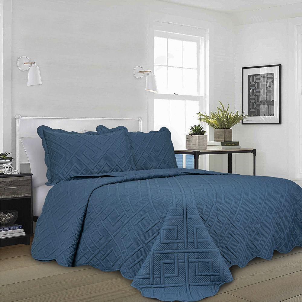 Colcha Matelassê - Geo - King Size - C/ Porta Travesseiro - Azul - Camesa