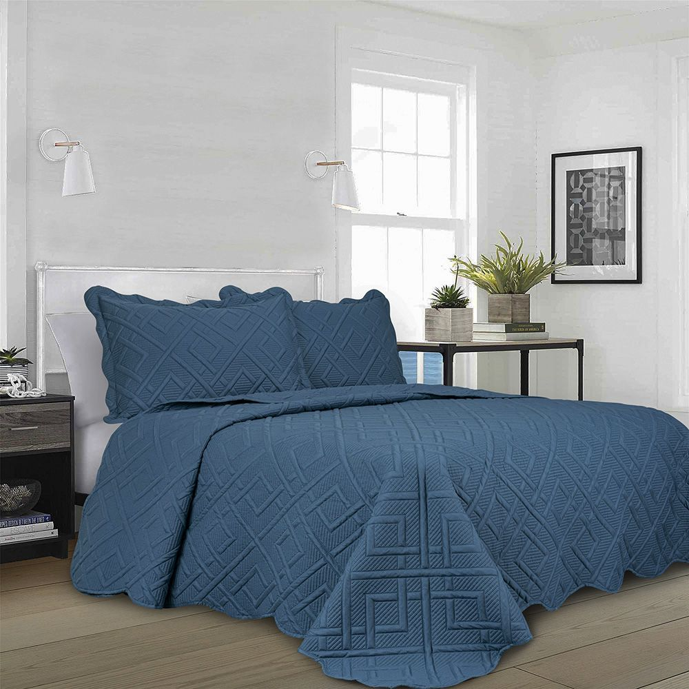 Colcha Matelassê - Geo - Queen Size - C/ Porta Travesseiro - Azul - Camesa
