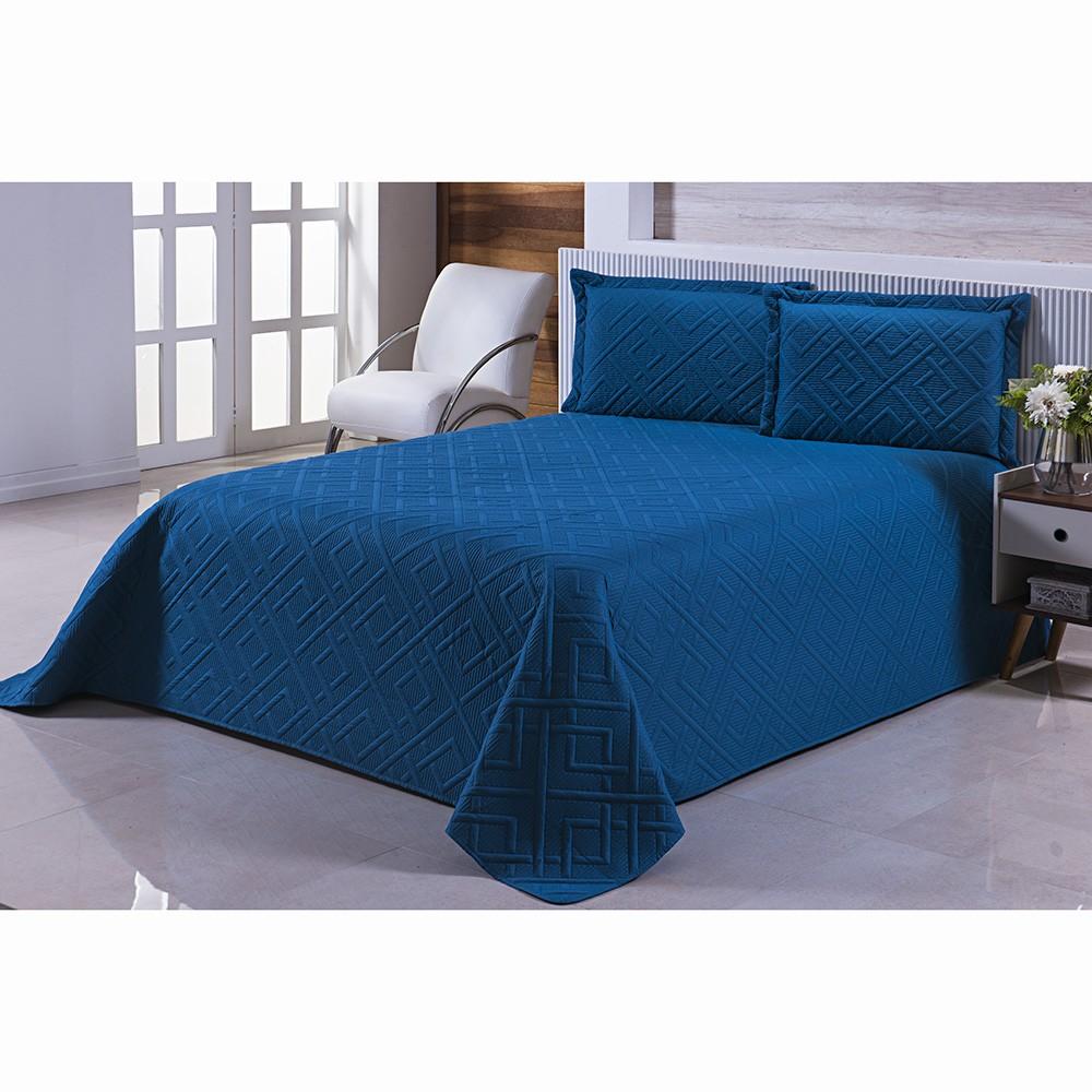 Colcha Matelassê - Mont Blanc - Queen Size - C/ Porta Travesseiros - Azul Petróleo - Niazitex